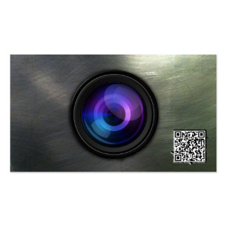 Grunge Steel Camera Lens Photography Business Card