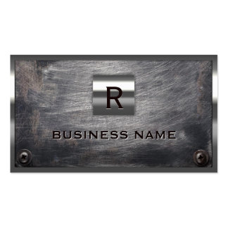 Grunge Steel Monogram Construction Business Card