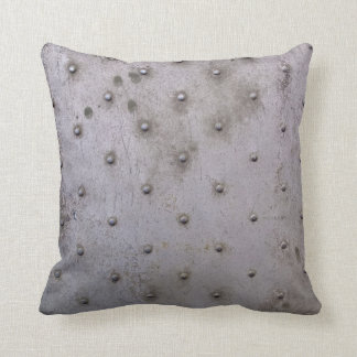 Grunge Steel Sheet with Rivets Throw Pillow
