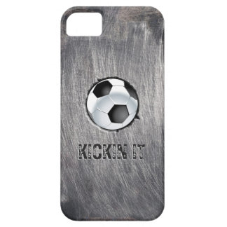 Grunge Steel Soccer Ball Kickin' it iPhone 5/5S Cases