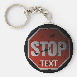 Grunge 'STOP' sign template - Keychain