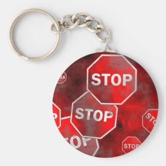 Grunge Stop Signs Keychain