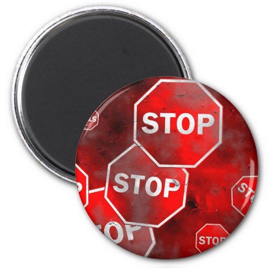 Grunge Stop Signs Magnet