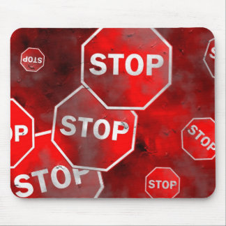 Grunge Stop Signs Mouse Pad