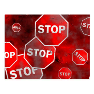 Grunge Stop Signs Postcard