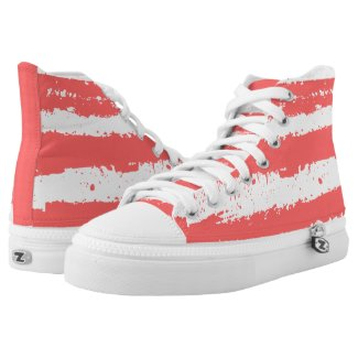 Grunge Stripes In Coral-Red and White Colors Printed Shoes