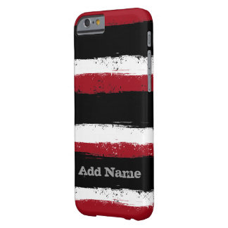 Grunge Stripes with Name - black red white Barely There iPhone 6 Case