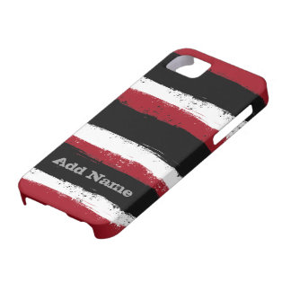 Grunge Stripes with Name - black red white iPhone 5 Cases
