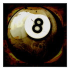 Grunge Style 8 Ball Poster