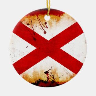 Grunge Style Alabama Flag Ceramic Ornament