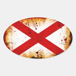 Grunge Style Alabama Flag Oval Sticker