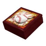 Grunge Style Baseballs Keepsake & Jewelry Box