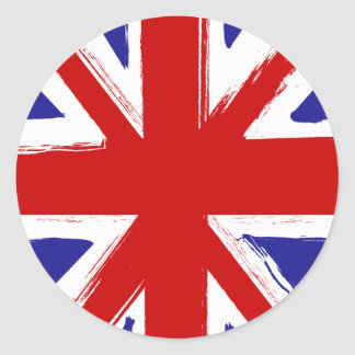 Grunge Style British Union Jack Flag Classic Round Sticker