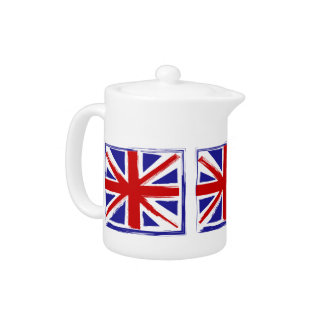 Grunge Style British Union Jack Flag Teapot