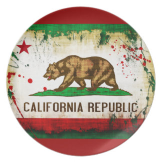 Grunge Style California Flag Plate