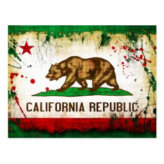 Grunge Style California Flag Post Card