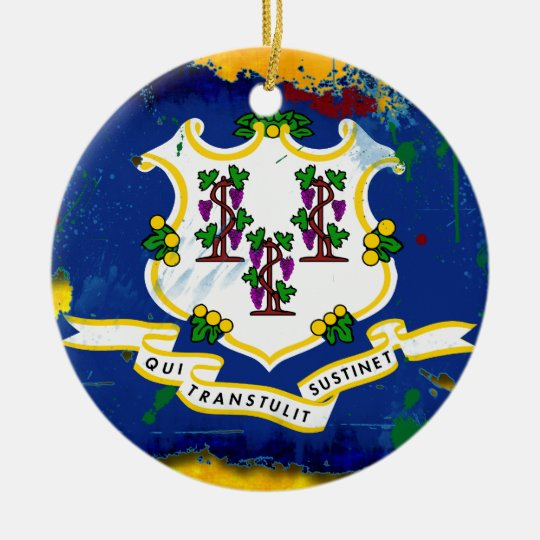 Grunge Style Connecticut Flag Ceramic Ornament