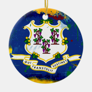 Grunge Style Connecticut Flag Christmas Ornaments