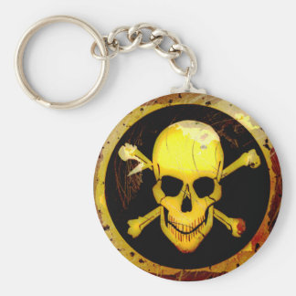 Grunge Style Gold Skull and Crossbones Keychain