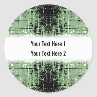 Grunge Style Green Abstract. Classic Round Sticker