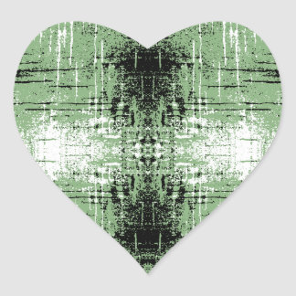 Grunge Style Green Abstract. Heart Sticker