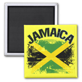 Grunge Style Jamaica Flag Design 2 Inch Square Magnet