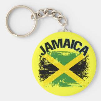 Grunge Style Jamaica Flag Design Keychain