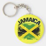 Grunge Style Jamaica Flag Design Keychains