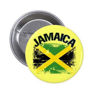Grunge Style Jamaica Flag Design Pinback Button