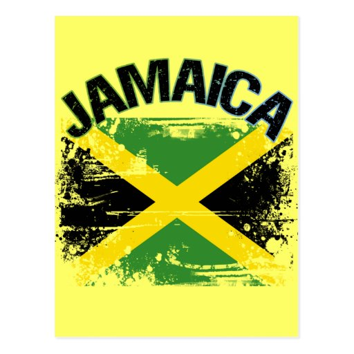 Grunge Style Jamaica Flag Design Postcard