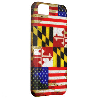 Grunge Style Maryland and USA Flags Cover For iPhone 5C