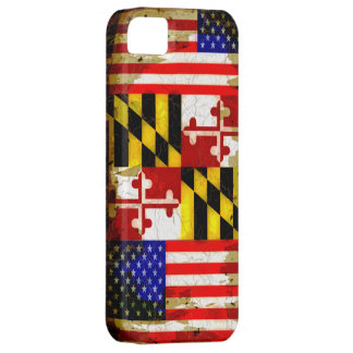 Grunge Style Maryland and USA Flags iPhone 5 Case
