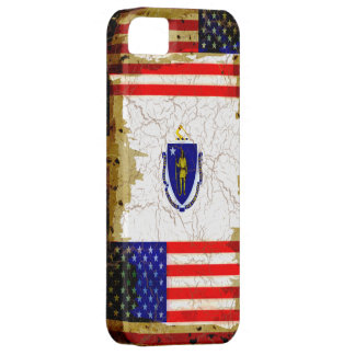 Grunge Style Massachusetts and USA Flags iPhone SE/5/5s Case