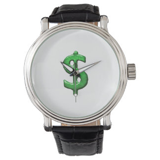 Grunge Style Money Sign Symbol Illustration Wrist Watch