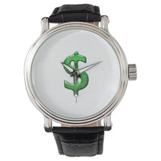Grunge Style Money Sign Symbol Illustration Wristwatch
