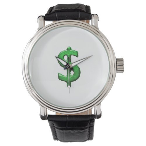 Grunge Style Money Sign Symbol Illustration Wristwatch
