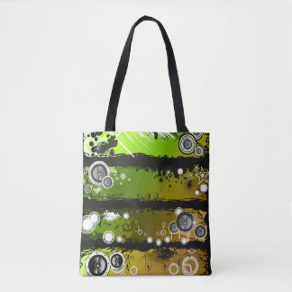 Grunge Style Music Banner Tote Bag