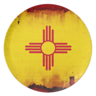 Grunge Style New Mexico Flag Melamine Plate