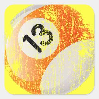 Grunge Style Number 13 Billiards Ball Square Sticker