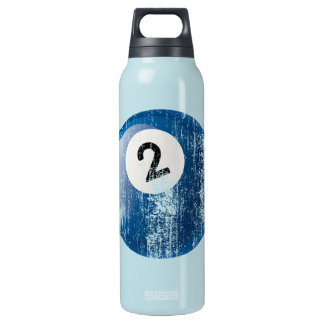 Grunge Style Number 2 Billiard Ball Insulated Water Bottle