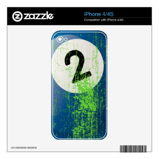 Grunge Style Number 2 Billiard Ball Decals For The iPhone 4S