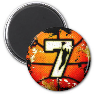 Grunge Style Number 7 Basketball and Player Magnet