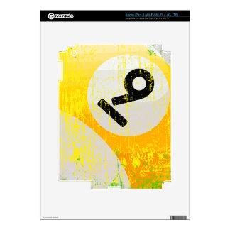 Grunge Style Number 9 Billiards Ball iPad 3 Decals