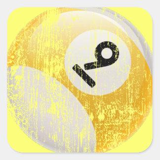 Grunge Style Number 9 Billiards Ball Square Sticker