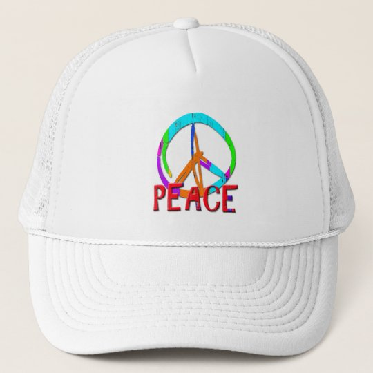 GRUNGE STYLE PEACE SIGN TRUCKER HAT