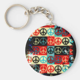 Grunge Style Peace Signs Collage Key Chains