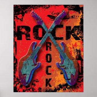 Grunge Style Rock Guitars Design Poster