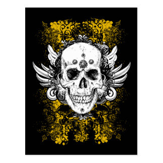 Grunge style skull with floral background, postcard
