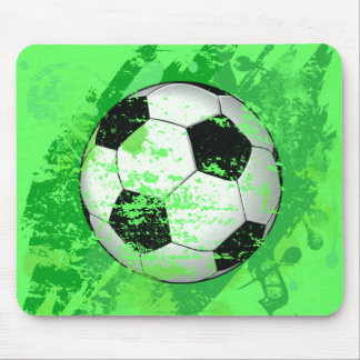 GRUNGE STYLE SOCCER BALL MOUSE PAD