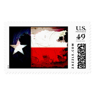 Grunge Style Texas Flag Postage Stamps